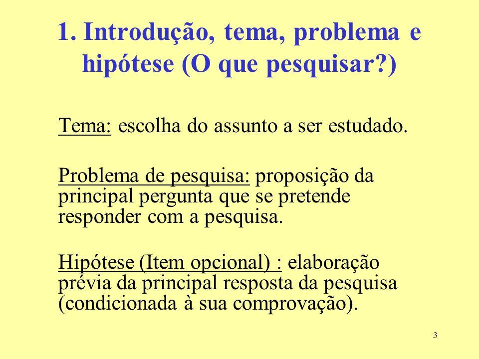 3 1. Introdução, tema, problema e hipótese (O que pesquisar?) Tema: escolha do assunto a ser estudado. Problema de pesquisa: proposição da principal p