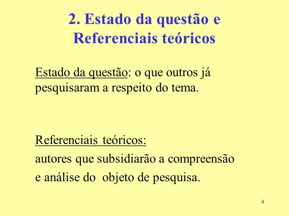 4 2. Estado da questão e Referenciais teóricos Estado da questão: o que outros já pesquisaram a respeito do tema. Referenciais teóricos: autores que s
