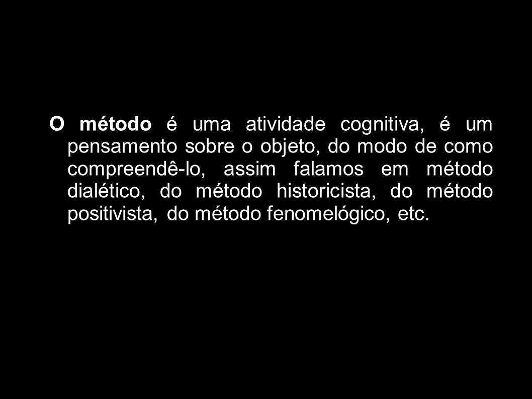 O método é uma atividade cognitiva, é um pensamento sobre o objeto, do modo de como compreendê-lo, assim falamos em método dialético, do método histor