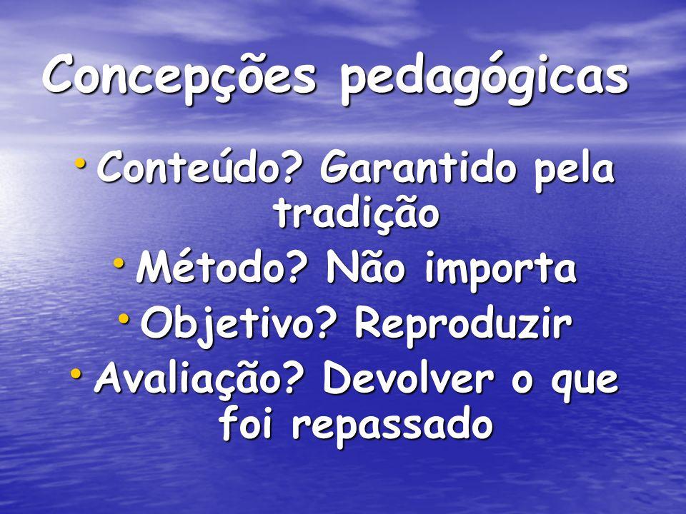 Concepções pedagógicas Conteúdo.Garantido pela tradição Conteúdo.