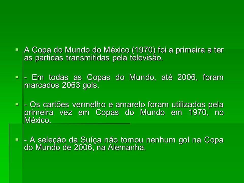 A Copa do Mundo do México (1970) foi a primeira a ter as partidas transmitidas pela televisão. A Copa do Mundo do México (1970) foi a primeira a ter a