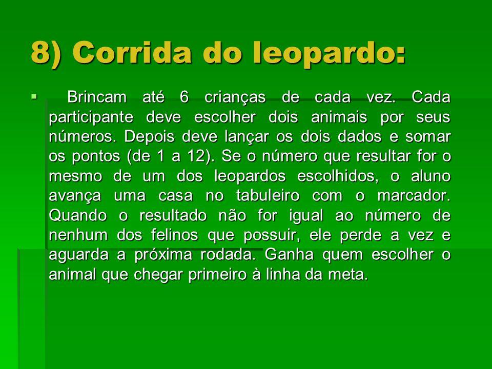 8) Corrida do leopardo: Brincam até 6 crianças de cada vez. Cada participante deve escolher dois animais por seus números. Depois deve lançar os dois