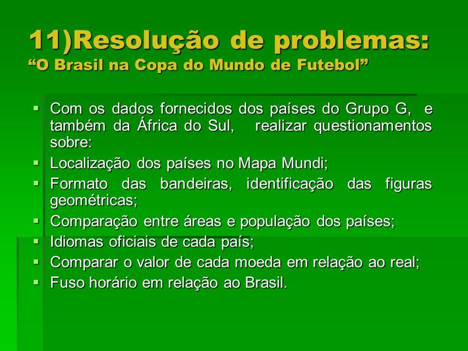 11)Resolução de problemas: O Brasil na Copa do Mundo de Futebol Com os dados fornecidos dos países do Grupo G, e também da África do Sul, realizar que