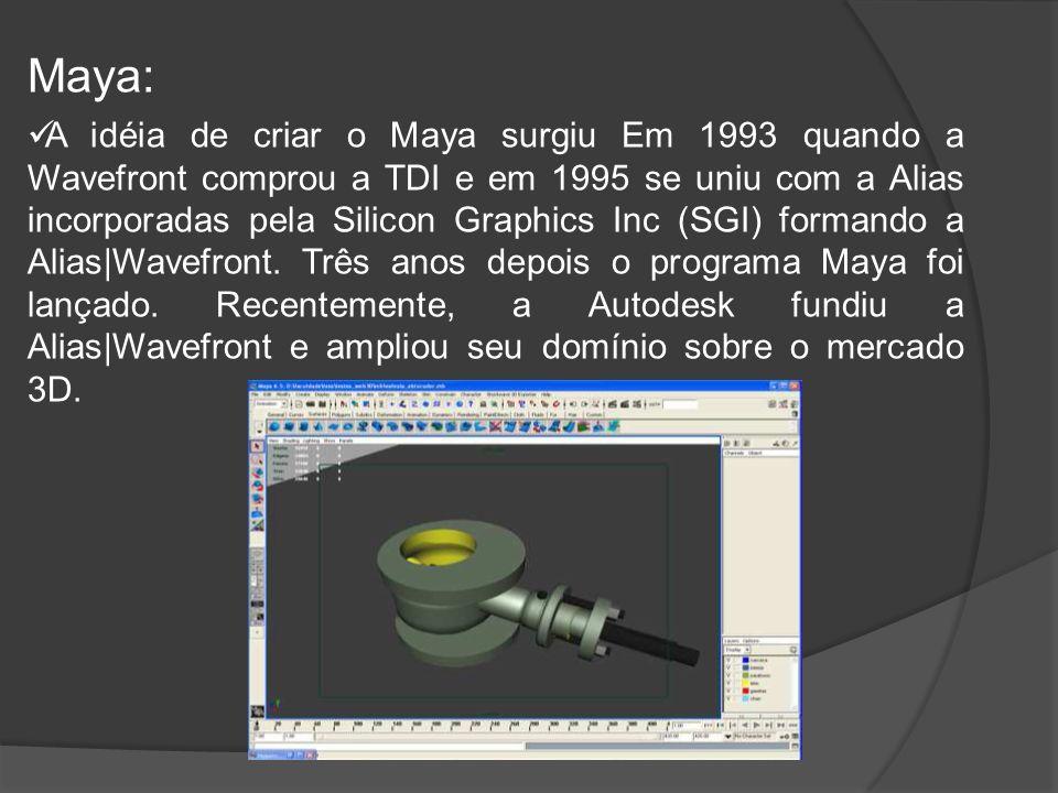 Maya: A idéia de criar o Maya surgiu Em 1993 quando a Wavefront comprou a TDI e em 1995 se uniu com a Alias incorporadas pela Silicon Graphics Inc (SGI) formando a Alias|Wavefront.