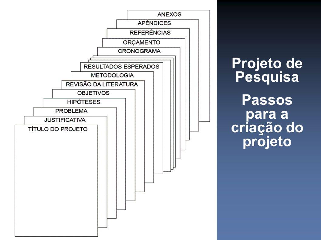 Projeto de Pesquisa Passos para a criação do projeto