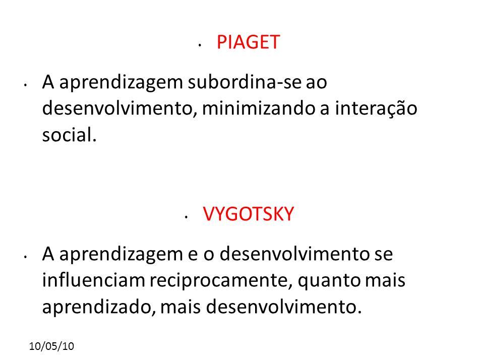 10/05/10 PIAGET A aprendizagem subordina-se ao desenvolvimento, minimizando a interação social. VYGOTSKY A aprendizagem e o desenvolvimento se influen