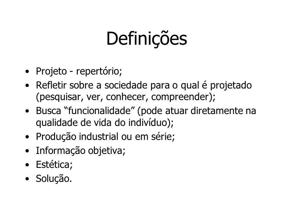Definições Projeto - repertório; Refletir sobre a sociedade para o qual é projetado (pesquisar, ver, conhecer, compreender); Busca funcionalidade (pod
