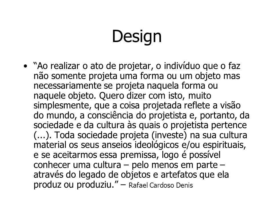Design Ao realizar o ato de projetar, o indivíduo que o faz não somente projeta uma forma ou um objeto mas necessariamente se projeta naquela forma ou