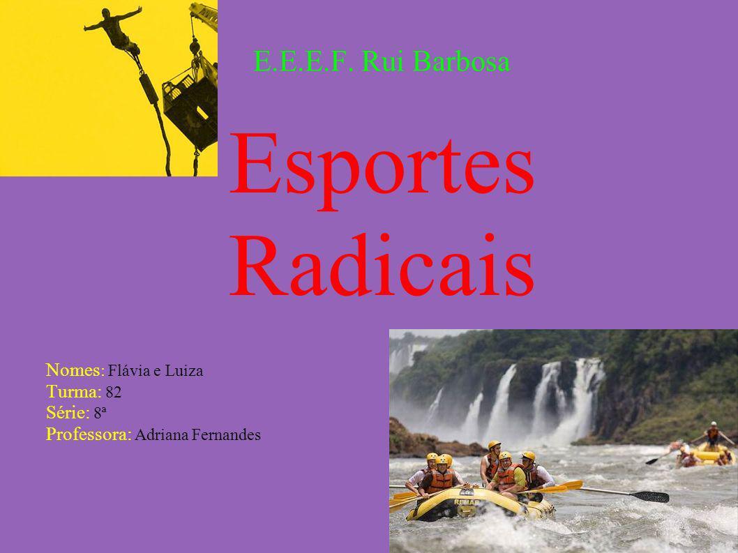 E.E.E.F. Rui Barbosa Esportes Radicais Nomes : Flávia e Luiza Turma: 82 Série: 8ª Professora: Adriana Fernandes