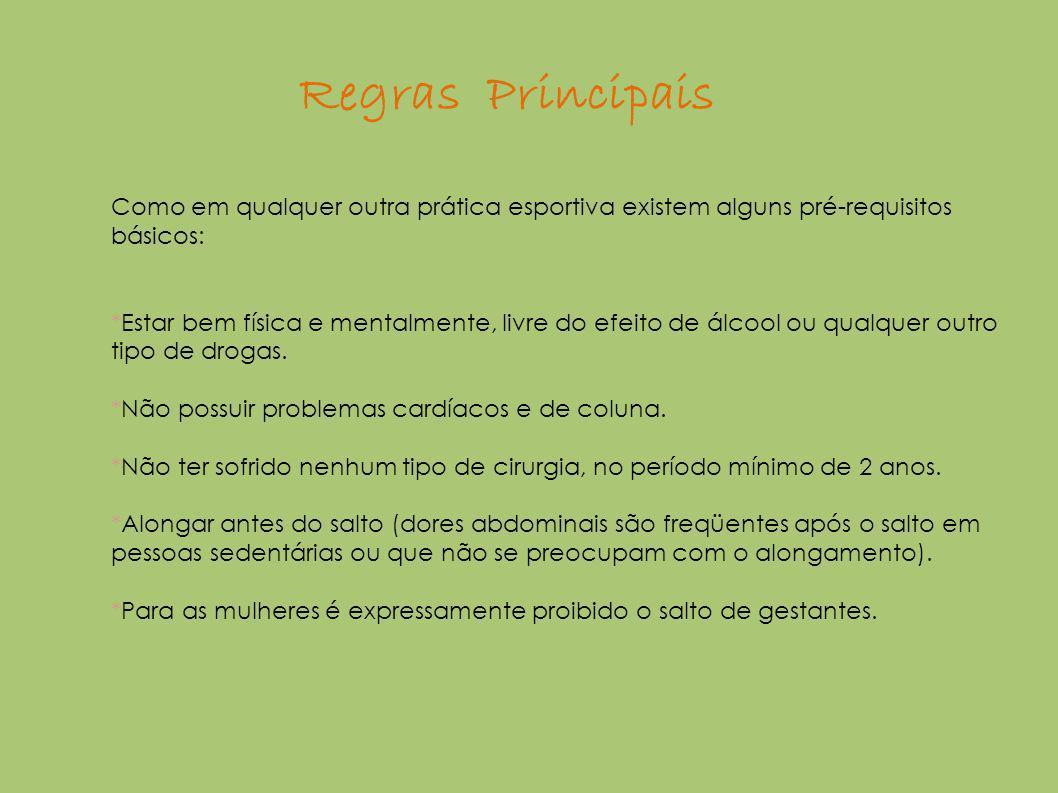 Regras Principais Como em qualquer outra prática esportiva existem alguns pré-requisitos básicos: *Estar bem física e mentalmente, livre do efeito de