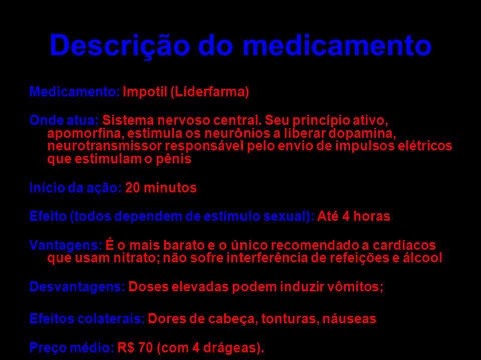 Descrição do medicamento Medicamento: Impotil (Líderfarma) Onde atua: Sistema nervoso central. Seu princípio ativo, apomorfina, estimula os neurônios