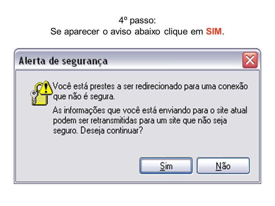 4º passo: Se aparecer o aviso abaixo clique em SIM.