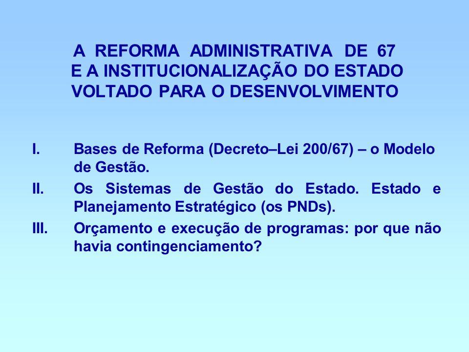 A REFORMA ADMINISTRATIVA DE 67 E A INSTITUCIONALIZAÇÃO DO ESTADO VOLTADO PARA O DESENVOLVIMENTO I.Bases de Reforma (Decreto–Lei 200/67) – o Modelo de