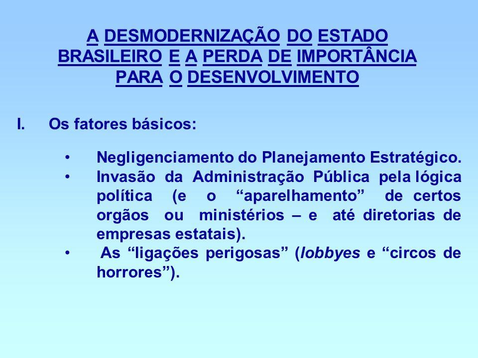 A DESMODERNIZAÇÃO DO ESTADO BRASILEIRO E A PERDA DE IMPORTÂNCIA PARA O DESENVOLVIMENTO I.Os fatores básicos: Negligenciamento do Planejamento Estratég