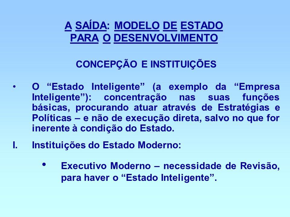 A SAÍDA: MODELO DE ESTADO PARA O DESENVOLVIMENTO CONCEPÇÃO E INSTITUIÇÕES O Estado Inteligente (a exemplo da Empresa Inteligente): concentração nas su