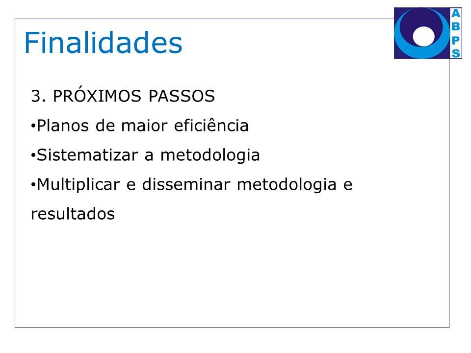 Finalidades 3. PRÓXIMOS PASSOS Planos de maior eficiência Sistematizar a metodologia Multiplicar e disseminar metodologia e resultados