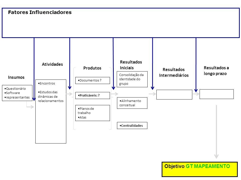 Encontros Estudos das dinâmicas de relacionamentos Atividades Questionário Software representantes Insumos Resultados Iniciais Alinhamento conceitual