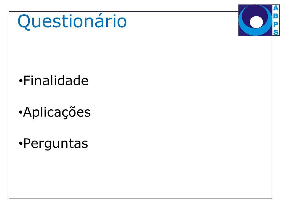 Questionário Finalidade Aplicações Perguntas