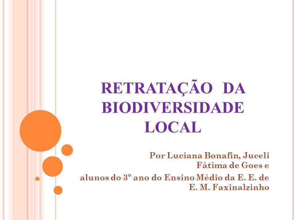 RETRATAÇÃO DA BIODIVERSIDADE LOCAL Por Luciana Bonafin, Juceli Fátima de Goes e alunos do 3º ano do Ensino Médio da E. E. de E. M. Faxinalzinho