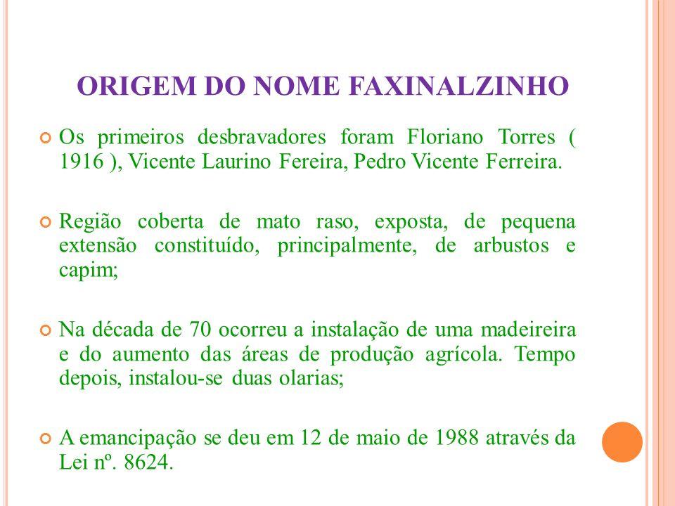 ORIGEM DO NOME FAXINALZINHO Os primeiros desbravadores foram Floriano Torres ( 1916 ), Vicente Laurino Fereira, Pedro Vicente Ferreira. Região coberta