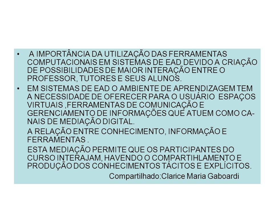 A IMPORTÂNCIA DA UTILIZAÇÃO DAS FERRAMENTAS COMPUTACIONAIS EM SISTEMAS DE EAD DEVIDO A CRIAÇÃO DE POSSIBILIDADES DE MAIOR INTERAÇÃO ENTRE O PROFESSOR,