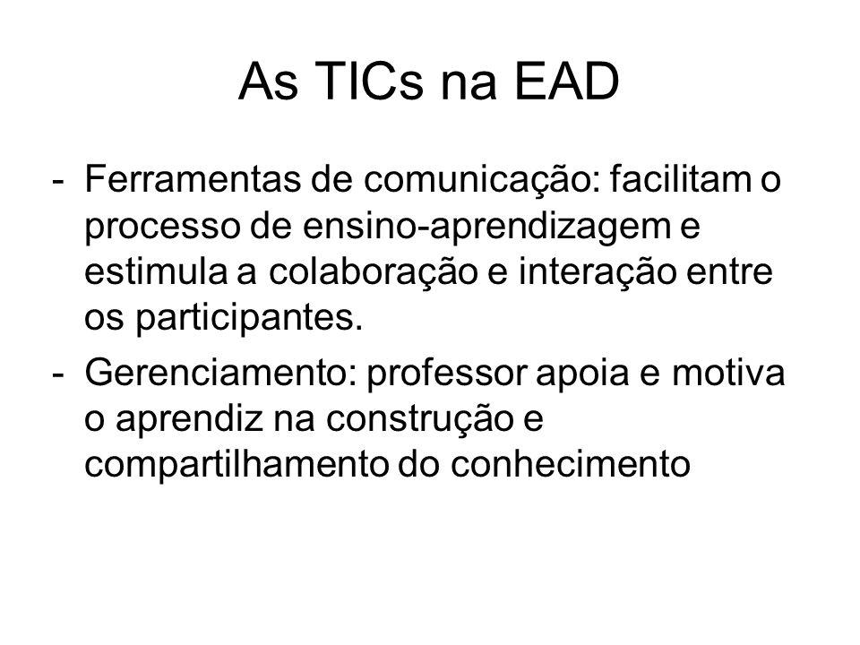 As TICs na EAD -Ferramentas de comunicação: facilitam o processo de ensino-aprendizagem e estimula a colaboração e interação entre os participantes. -