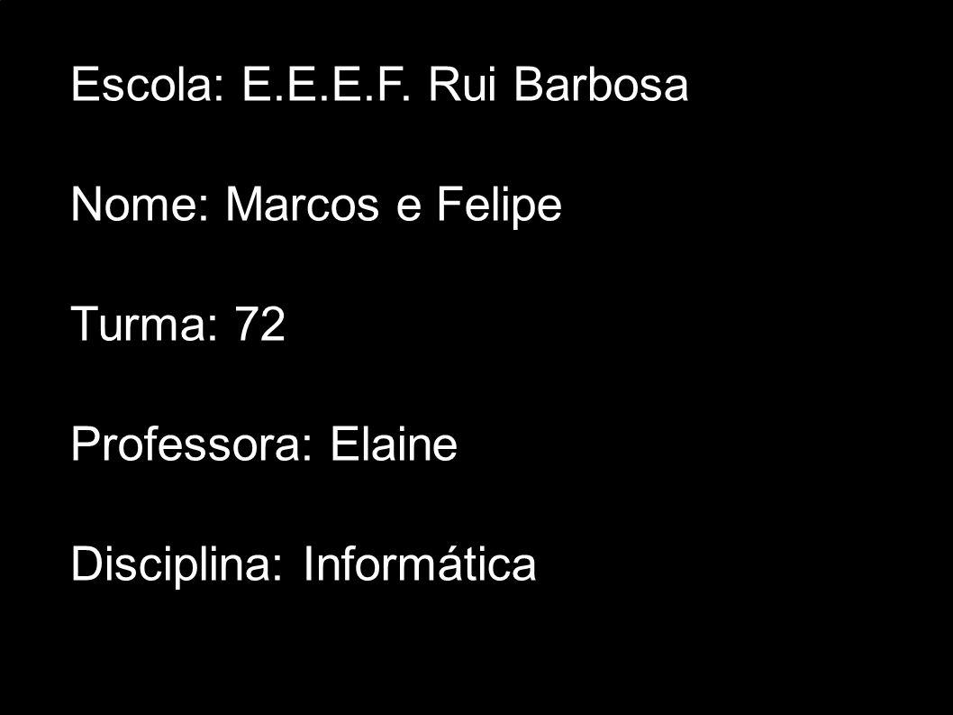 Escola: E.E.E.F. Rui Barbosa Nome: Marcos e Felipe Turma: 72 Professora: Elaine Disciplina: Informática