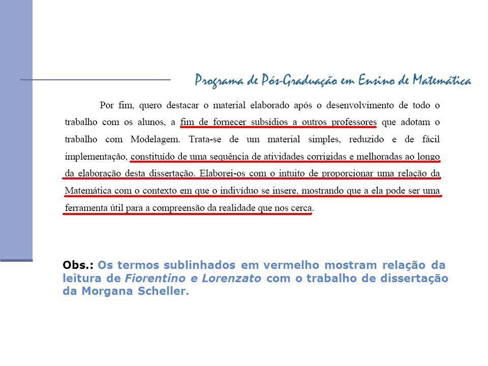 Obs.: Os termos sublinhados em vermelho mostram relação da leitura de Fiorentino e Lorenzato com o trabalho de dissertação da Morgana Scheller.