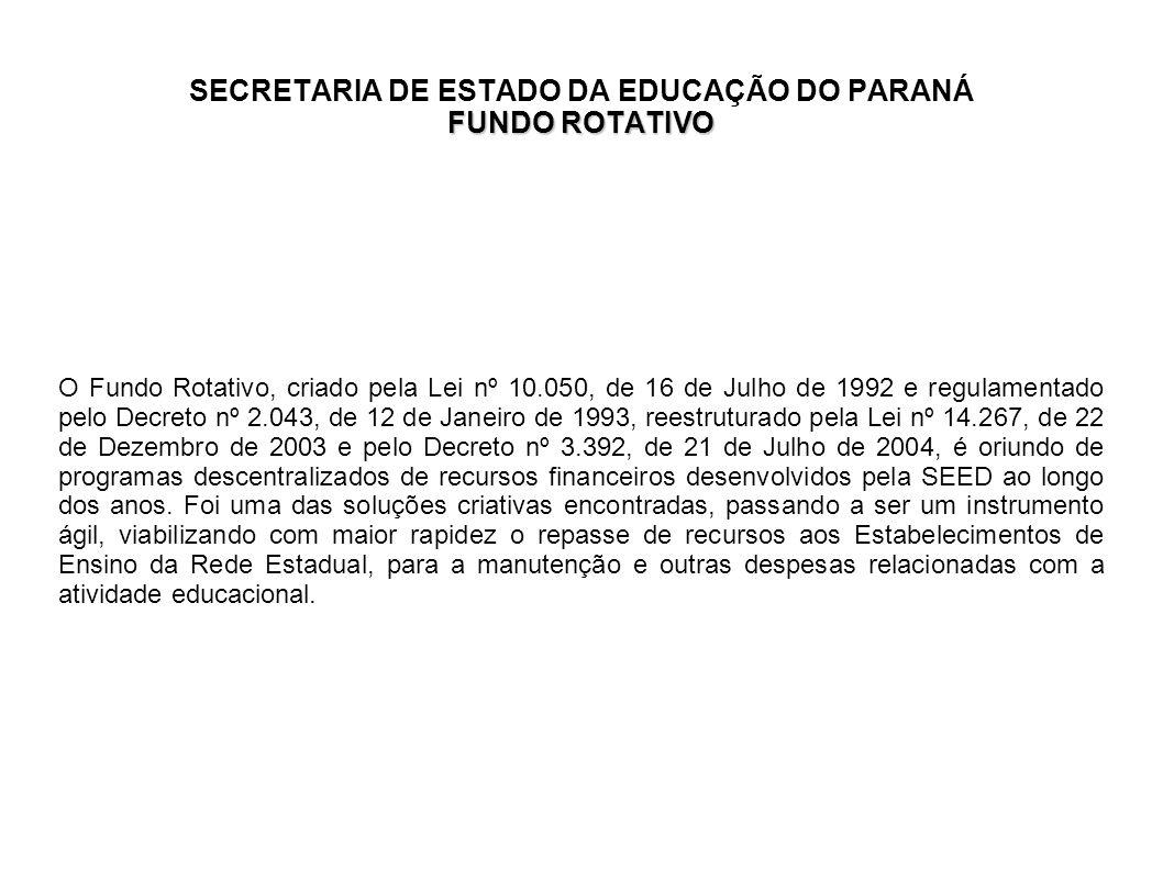 FUNDO ROTATIVO SECRETARIA DE ESTADO DA EDUCAÇÃO DO PARANÁ FUNDO ROTATIVO O Fundo Rotativo, criado pela Lei nº 10.050, de 16 de Julho de 1992 e regulam