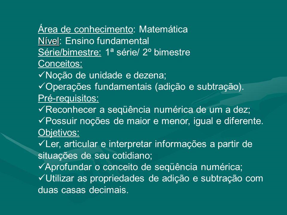 Área de conhecimento: Matemática Nível: Ensino fundamental Série/bimestre: 1ª série/ 2º bimestre Conceitos: Noção de unidade e dezena; Operações funda