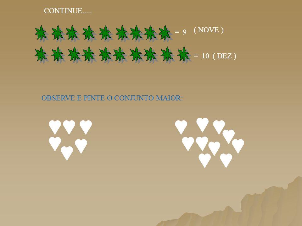 CONTINUE..... OBSERVE E PINTE O CONJUNTO MAIOR: = 9 = 10 ( NOVE ) ( DEZ )