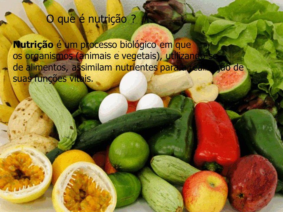 O que é nutrição ? Nutrição é um processo biológico em que os organismos (animais e vegetais), utilizando-se de alimentos, assimilam nutrientes para a