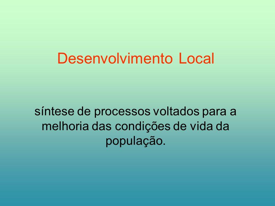 Desenvolvimento Local síntese de processos voltados para a melhoria das condições de vida da população.