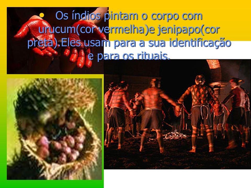 Os índios pintam o corpo com urucum(cor vermelha)e jenipapo(cor preta).Eles usam para a sua identificação e para os rituais.