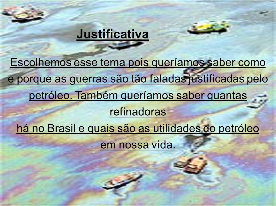 Escolhemos esse tema pois queríamos saber como e porque as guerras são tão faladas justificadas pelo petróleo.