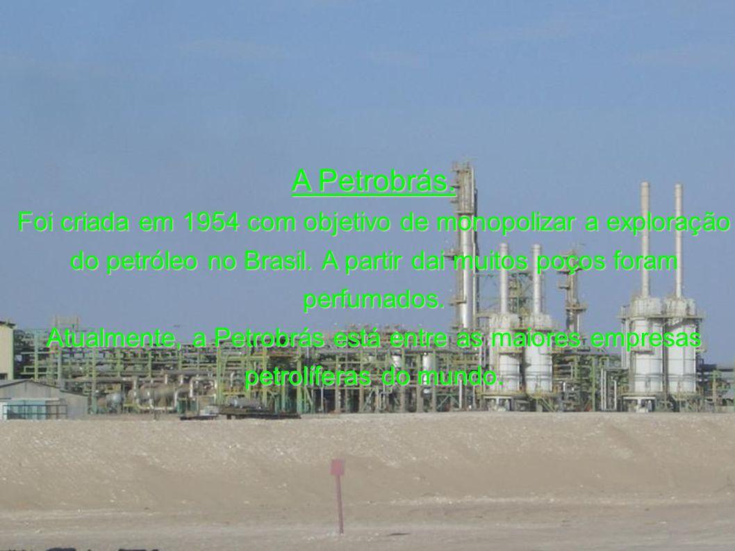 A Petrobrás.Foi criada em 1954 com objetivo de monopolizar a exploração do petróleo no Brasil.