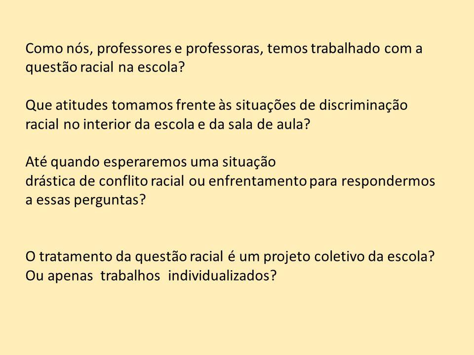 Como nós, professores e professoras, temos trabalhado com a questão racial na escola? Que atitudes tomamos frente às situações de discriminação racial