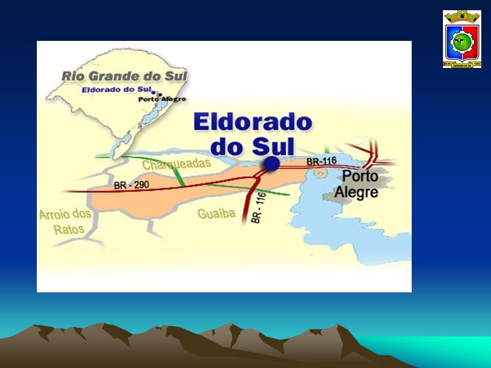 LOCALIZAÇÃO O Município de Eldorado do Sul está localizado na Região Carbonífera e apresenta como Municípios limítrofes: Norte – Charqueadas; Sul – Guaíba; Leste – Porto Alegre; Oeste - Arroio dos Ratos.