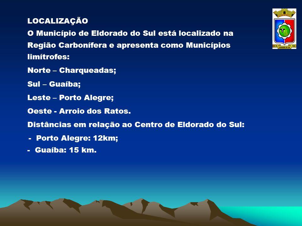 LOCALIZAÇÃO O Município de Eldorado do Sul está localizado na Região Carbonífera e apresenta como Municípios limítrofes: Norte – Charqueadas; Sul – Gu