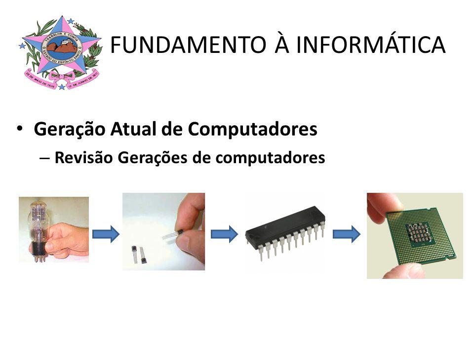 FUNDAMENTO À INFORMÁTICA Geração Atual de Computadores – Revisão Gerações de computadores