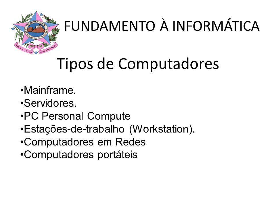 Tipos de Computadores Mainframe. Servidores. PC Personal Compute Estações-de-trabalho (Workstation). Computadores em Redes Computadores portáteis