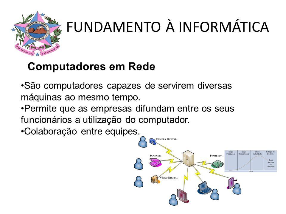 FUNDAMENTO À INFORMÁTICA Computadores em Rede São computadores capazes de servirem diversas máquinas ao mesmo tempo. Permite que as empresas difundam