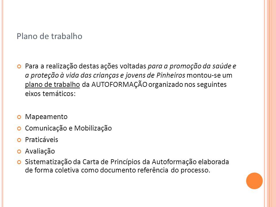 Plano de trabalho Para a realização destas ações voltadas para a promoção da saúde e a proteção à vida das crianças e jovens de Pinheiros montou-se um