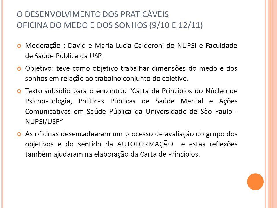 O DESENVOLVIMENTO DOS PRATICÁVEIS OFICINA DO MEDO E DOS SONHOS (9/10 E 12/11) Moderação : David e Maria Lucia Calderoni do NUPSI e Faculdade de Saúde