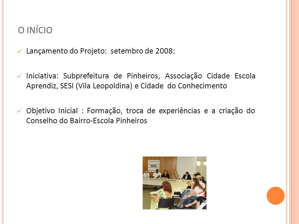 O INÍCIO Lançamento do Projeto: setembro de 2008: Iniciativa: Subprefeitura de Pinheiros, Associação Cidade Escola Aprendiz, SESI (Vila Leopoldina) e
