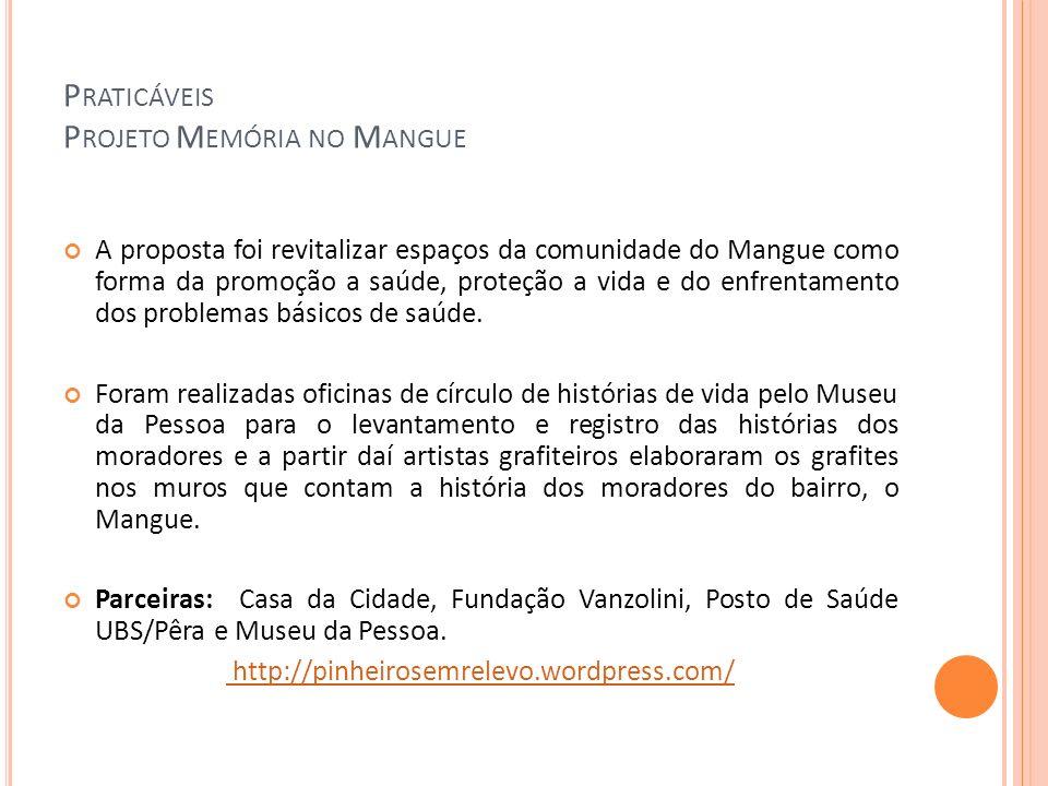 P RATICÁVEIS P ROJETO M EMÓRIA NO M ANGUE A proposta foi revitalizar espaços da comunidade do Mangue como forma da promoção a saúde, proteção a vida e