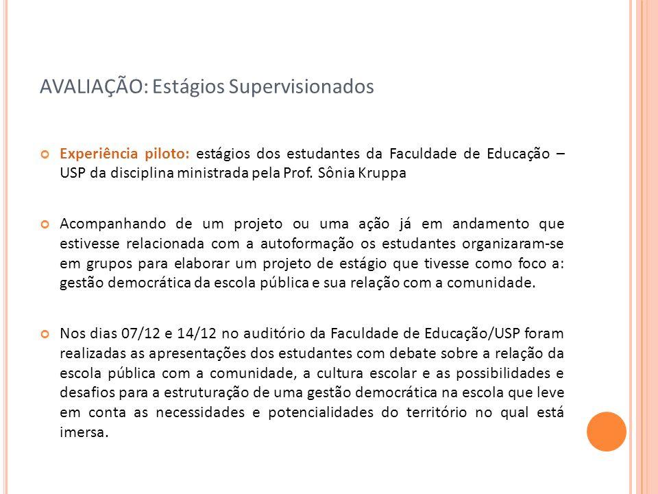 AVALIAÇÃO: Estágios Supervisionados Experiência piloto: estágios dos estudantes da Faculdade de Educação – USP da disciplina ministrada pela Prof. Sôn