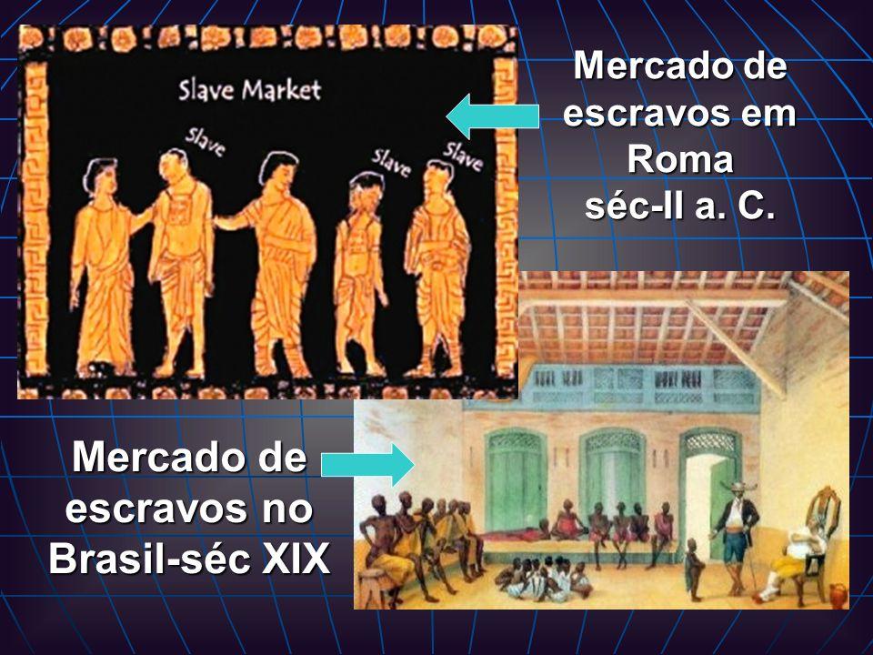 Mercado de escravos em Roma séc-II a. C. Mercado de escravos no Brasil-séc XIX