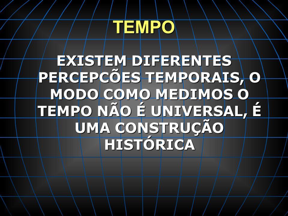 TEMPO EXISTEM DIFERENTES PERCEPCÕES TEMPORAIS, O MODO COMO MEDIMOS O TEMPO NÃO É UNIVERSAL, É UMA CONSTRUÇÃO HISTÓRICA