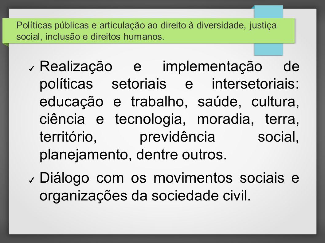 Políticas públicas e articulação ao direito à diversidade, justiça social, inclusão e direitos humanos. Realização e implementação de políticas setori